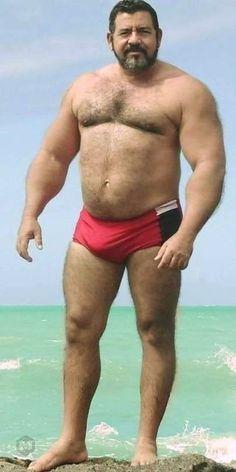 Big Daddy Bear, Hot Men Bodies, Handsome Older Men, Chubby Men, Guys In Speedos, Beefy Men, Muscle Bear, Big Muscles, Big Guys