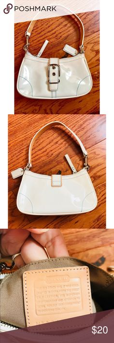 Coach white patent leather purse with blue stitch Coach white patent leather purse with blue stitching. EUC Coach Bags Mini Bags