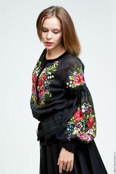 bfbdbcc315a Блузки ручной работы. Черная блузка Троянды с вышивкой. Ручная вышивка от  Ольги Стрельцовой. Ярмарка Мастеров. Блуза
