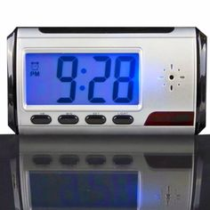 Desktop Spy Clock Hidden Camera -------------------------------------------- Motion activated recording Record Months of Video Rechargeable Battery Or Plug-in Records 640 x 480 resolution color video 4GB Micro SD Card - Upgrade to 32GB 40 minutes video per GB 2 Megapixel Camera Time/Date Stamp On Video #FF #phones #android