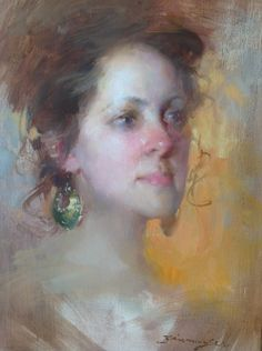 Lady with earrings Zhaoming Wu 16x12