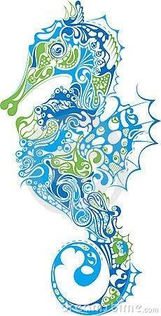 Stylized Seahorse illustration.