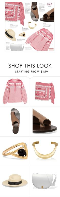 """Dodo Bar Or Embellished lace-trimmed cotton-jacquard top and wrap mini skirt"" by mako87 ❤ liked on Polyvore featuring All Tomorrow's Parties, URiBE, Chloé, Maison Michel, Victoria Beckham and dodobaror"