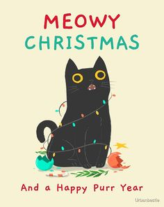 """""""Funny Christmas Cat funny"""" by Urbanbestie Grumpy Cat Christmas, Funny Christmas Cards, Christmas Humor, Cute Cats, Funny Cats, Christmas Wallpaper, Cat Drawing, Cute Illustration, Cat Love"""