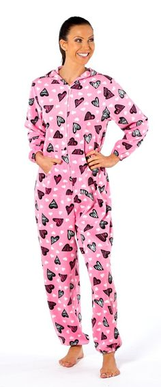 Heart Print Onesie - Ladies Really soft onesie with a kangaroo pocket. Also available in Grey. Sizes 10-20 Only £23