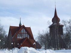 Exterior de la Iglesia de madera de Kiruna, en Suecia