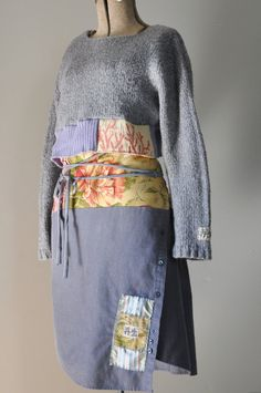 Upcycled Boho Crop Sweater in Slate Gray and by RebirthRecycling
