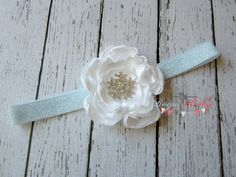 Winter Snowflake Headband  3 white satin flower  by TheRogueBaby, $7.95