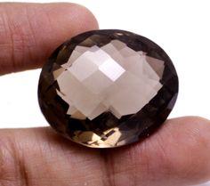 66ct Big VS Natural Checkerbord Cut Smokey Quartz Pendant Size Loose Gemstone #krishnagemsnjewels