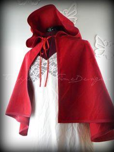 cape - red cape, gold acorn fastener