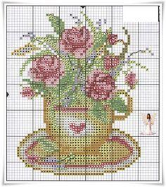 Lavores da Ana Paula: Chavenas de Chá com Flores