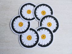 6 Crochet Flowers Cup Pads Coasters Set Crochet by TaniaNeedleArt