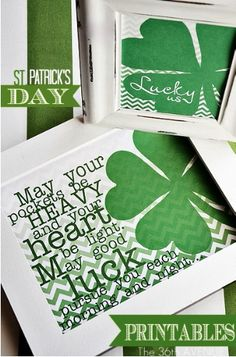 "Patrick's Day, I want something that says this in our house! ""May your pockets be heavy and your heart be light. May good luck pursue you each morning and night"" Maybe a wooden sign above the door or something :) Holiday Crafts, Holiday Fun, Spring Crafts, St. Patricks Day, Saint Patricks, Be Light, Little Presents, Irish Blessing, St Paddys Day"