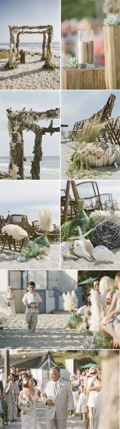 beach wedding detail- if I had it to do over again this is how I would want our wedding to look, actually get married in the sand