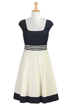 Contrast trim colorblock dress - eShakti