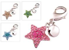 PURELY CHARMING cat Collar Charm with Handset Swarovski Crystals - Starburst, Rose Pink *** Wow! I love this. Check it out now! : Cat Collar, Harness and Leash