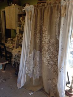 "Burlap and lace curtains, paper and lace 109""wide by 75"" long"