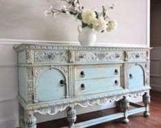 Antique Ornate Jacobean Hand Painted French Country Shabby Chic Romantic Victorian Pastel Blue Green Aqua Buffet #shabbychicdressersblue