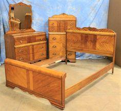 Antique 1930's Waterfall Art Deco Bedroom Set Vanity Mirror Full Bed Dresser | eBay