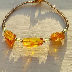Baltic Amber Smoky Quartz & Peridot Bracelet Gemstone