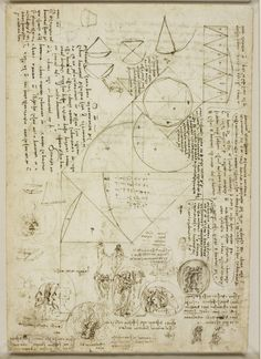 Leonardo da Vinci, Studies of emblems, geometrical diagrams, and notes. Verso studies of emblems, geometrical diagrams, and notes, c.1508-10Royal Collection © Her Majesty Queen Elizabeth II