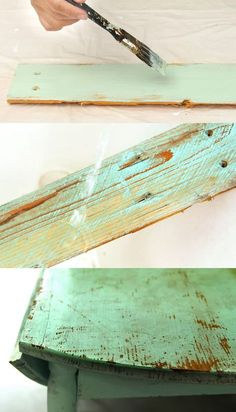 Ultimate guide on how to distress wood and furniture. Video tutorials of 7 easy painting techniques that give great results of aged look using simple tools. A Piece of Rainbow paintings on wood How to Distress Wood & Furniture EASY Techniques & Videos! Distressed Wood Furniture, Distressed Painting, Weathered Wood, Repurposed Furniture, Shabby Chic Furniture, Distressing Wood, Vintage Furniture, Wood 8, Rustic Furniture