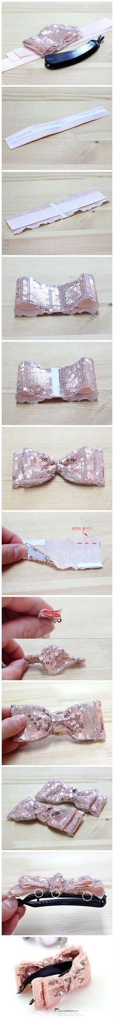 Tutorial handmade DIY handmade bow hair accessories BlingBling classic sequins elements, so bow more ...