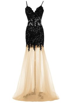 Sexy Mermaid Spaghetti Straps Floor Length Lace Tulle Prom Dress
