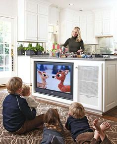 A TV in the kitchen island