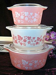 Vintage Pink Pyrex. Popular in the early 1950's. lots of pink stuff during that time frame.