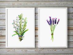 Herbs Watercolor Painting -  Food Art - Rosemary lavender Thyme Art Print - Zen Kitchen Art  Food illustration decor herb botanical art