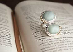 Twin Jade Stones Ring Set in Sterling Silver