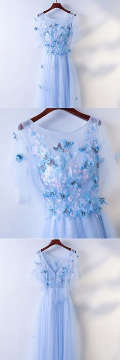 Only $118, Prom Dresses Cute Blue Flowy Long Cheap Prom Dress With Butterflies #MYX18091 at #GemGrace. View more special Prom Dresses,Homecoming Dresses now? GemGrace is a solution for those who want to buy delicate gowns with affordable prices, a solution for those who have unique ideas about their gowns. 2018 new arrivals, shop now to get $10 off!