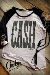 7a6413e184673 Cash Caliche and Vintage Black 3 4 Sleeve Raglan Tee with Black Shimmer  Print Country