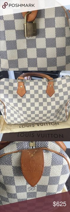 Louis Vuitton Speedy 30 (Damier Azur) In great shape! Handles are patina and have some wear (posted photo). The outside has great structure and no real stains. A blue pen did get the inside (posted photos) and some small other markings, but inside. It comes with bag, box, lock (no keys) and the dust bag. Slight stain on inside tag (posted photo) It was bought from Tradesy and authenticated there. So cute and besides the slight wear on handles which is not too noticeable when holding it. it's…