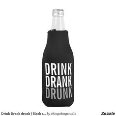 'Drink Drank Drunk' Black and Grey Funny Can Cooler for party night.