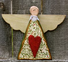 Carved Wood Christmas Angel by ladybugsspot on Etsy, $28.50