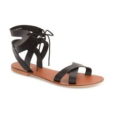 Topshop 'Herb' Lace-Up Flat Sandal ($45) ❤ liked on Polyvore featuring shoes, sandals, black, black shoes, cut out sandals, topshop shoes, lace up flat sandals and lace up flat shoes
