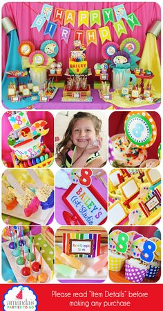 Art Birthday Party Decorations Printable Set (Rainbow Party) ======================== WHAT YOU ARE PURCHASING: ========================