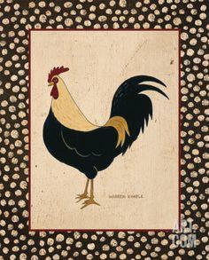 Goldfeather Chicken Art Print by Warren Kimble at Art.com
