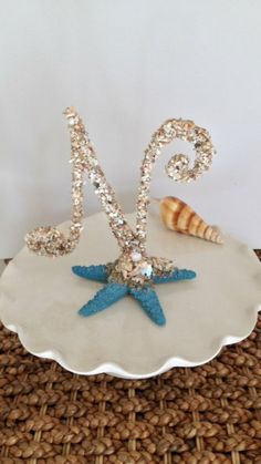 #NAUTICAL #CAKE TOPPER #Beach Wedding #Nautical Wedding #Sea Shell Cake Topper
