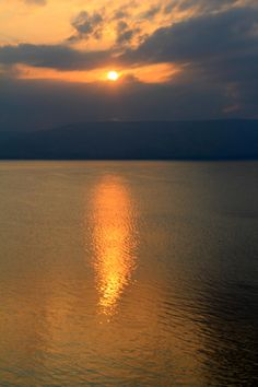 The Sea of Galilee at Sunset.