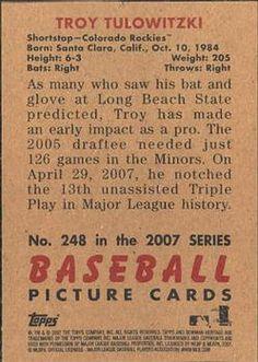 2007 Bowman Heritage #248a Troy Tulowitzki Back