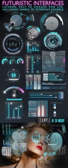 Buy Futuristic Interface (HUD) by on GraphicRiver. This retina-ready, easy to modify ad use, layered futuristic interface set can be used for everything sci-fi, modern,. Interaktives Design, Game Ui Design, Logo Design, Flat Design, Dashboard Design, Dashboard Ui, Gui Interface, User Interface Design, Mobile Ui Design