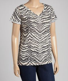 Loving this Black & Ecru Zebra Burnout V-Neck Tee - Plus on #zulily! #zulilyfinds