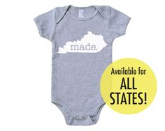All States 'Made' Cotton Baby One Piece Bodysuit - Infant Girl and Boy American Apparel