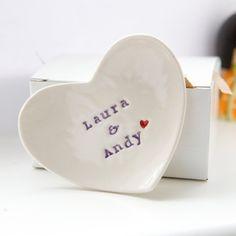 Personalized Wedding Gift Ring Dish custom porcelain heart wedding ring bearer bowl on Etsy, $30.28