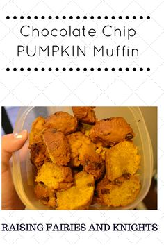 Chocolate Chip Pumpkin Muffins - A delicious, quick and easy recipe.  Bonus if you have a toddler helping you.