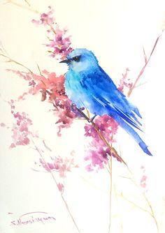 Mountain Bluebird painting original watercolor by ORIGINALONLY