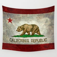Californian state flag - The California Republic Bear flag in Retro style Wall Tapestry